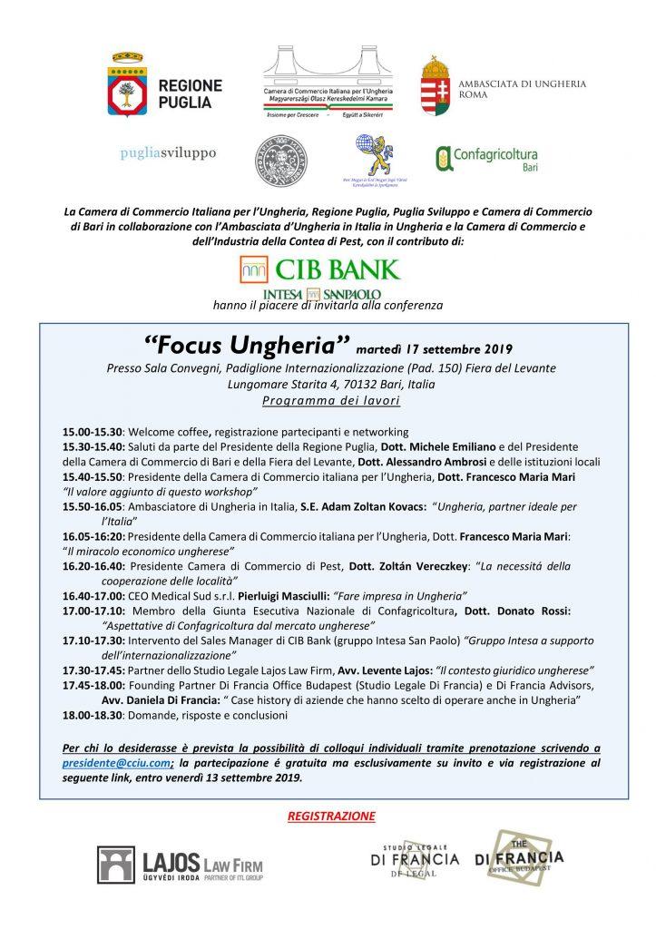 """""""Focus Ungheria"""" 17.9.2019 Bari"""